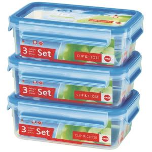EMSA Clip & Close Frischhaltedosen 3-teiliges Set, Platzsparend ineinander stapelbar, Set besteht aus: 3 x 1000 ml - Dosen