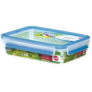 EMSA Clip & Close Frischhaltedose rechteckig, Klassikformat, Ideal für den Transport flüssiger Lebensmittel, Fassungsvermögen: 1200 ml