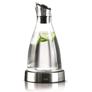 EMSA Kühlkaraffe Flow, Kühlen und servieren - dank Edelstahl-Kühlstation, Fassungsvermögen: 1000 ml, Glas/Edelstahl
