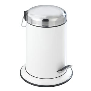 WENKO Retoro Kosmetik Treteimer, Abfalleiemer im klassischen Retro-Look, Fassungsvermögen: 3 Liter, Farbe: weiß