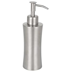 WENKO Pieno Seifenspender, 125 ml, Nachfüllbar, aus rostfreiem Edelstahl, Fassungsvermögen: 125 ml, Silber / Satiniert