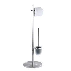WENKO Pieno Stand WC-Garnitur, Offene WC-Garnitur und Toilettenpapier-Rollenhalter, Maße: 26,5 x 79 x 25,5 cm, Farbe: Silber / Satiniert