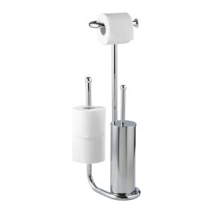 WENKO Universalo Stand WC-Garnitur, chrom, Geschlossener WC-Bürstenhalter, Toilettenpapierhalter, Ersatzrollenhalter, Maße: 23 x 62,5 x 20 cm, Farbe: Silber / Chrom