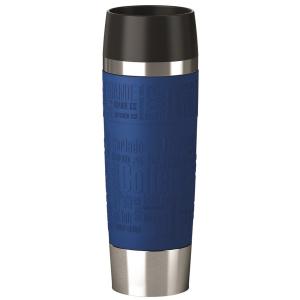 EMSA Travel Mug Grande Isolierbecher mit Quick Press Verschluss, Soft-Touch Griffelemente für sicheren Halt, Fassungsvermögen: 500 ml, Farbe: blau