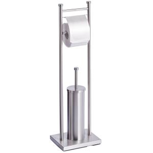 Zeller WC-Garnitur Edelstahl, Optische Aufwertung durch zeitloses und klassisches Design, Maße: 22 x 18 x 76 cm, Farbe: silber