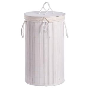 Zeller Wäschesammler Bamboo, Herausnehmbarer Wäschesack aus Stoff - mit Kordelzug, Maße: Ø 35 x 60 cm, Farbe: weiß