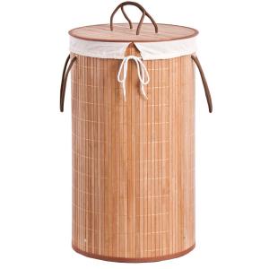Zeller Wäschesammler Bamboo, Herausnehmbarer Wäschesack aus Stoff - mit Kordelzug, Maße: Ø 35 x 60 cm, Farbe: natur