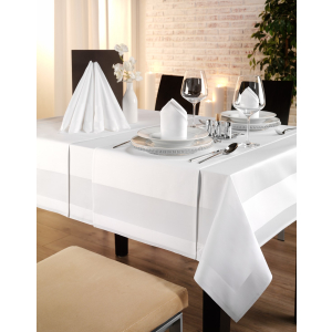 Gözze TOCCATA-Atlaskante, Tischdecke, 130 x 40 cm, Vollzwirn-Damast, koch- und chlorecht, Farbe: weiß