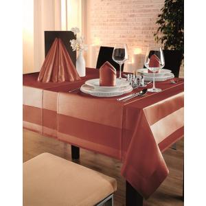 Gözze TOCCATA-Atlaskante, Tischdecke, 130 x 40 cm, Vollzwirn-Damast, koch- und chlorecht, Farbe: ziegelrot