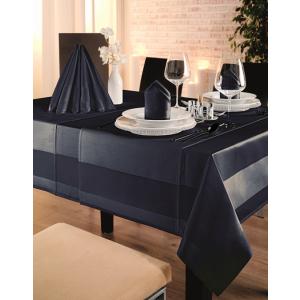 Gözze TOCCATA-Atlaskante, Tischdecke, 130 x 40 cm, Vollzwirn-Damast, koch- und chlorecht, Farbe: dunkelblau