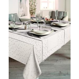 Gözze Caprice - Stäbchen Tischdecke, allover, 130 x 130 cm, Vollzwirn-Damast, koch- und chlorecht, Farbe: weiß