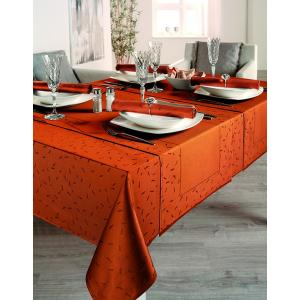 Gözze Caprice - Stäbchen Tischdecke, allover, 130 x 130 cm, Vollzwirn-Damast, koch- und chlorecht, Farbe: orange
