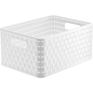 Rotho COUNTRY Korb, 11 Liter, Aufbewahrungskorb aus Kunststoff, Maße: 328 x 238 x 160 mm, Farbe: porcelain
