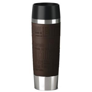 EMSA Travel Mug Grande Isolierbecher mit Quick Press Verschluss, Soft-Touch Griffelemente für sicheren Halt, Fassungsvermögen: 500 ml, Farbe: braun