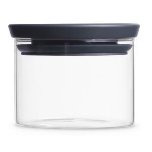 Brabantia Stapelbarer Glasbehälter, transparent / grau, Aufbewahrung für Zutaten aller Art, Fassungsvermögen: 300 ml