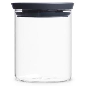 Brabantia Stapelbarer Glasbehälter, transparent / grau, Aufbewahrung für Zutaten aller Art, Fassungsvermögen: 600 ml