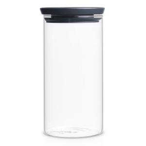 Brabantia Stapelbarer Glasbehälter, transparent / grau, Aufbewahrung für Zutaten aller Art, Fassungsvermögen: 1.100 ml
