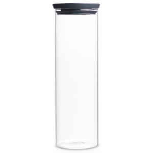 Brabantia Stapelbarer Glasbehälter, transparent / grau, Aufbewahrung für Zutaten aller Art, Fassungsvermögen: 1.900 ml