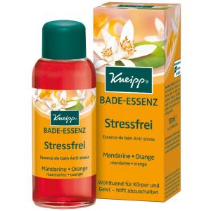 Kneipp® Bade-Essenz Stressfrei - Mandarine & Orange, Wohltuend und entspannend für Körper und Geist - hilft abzuschalten, 100 ml - Flasche