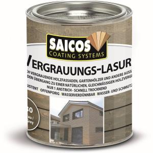 SAICOS COLOUR GmbH SAICOS Vergrauungslasur, steingrau, Egalisiert den Übergang zu einer natürlichen Holzvergrauung, 750 ml - Dose 7630301