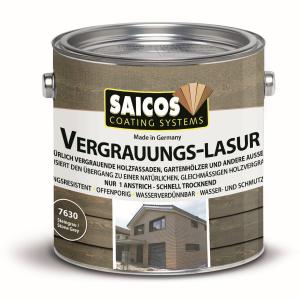 SAICOS COLOUR GmbH SAICOS Vergrauungslasur, steingrau, Egalisiert den Übergang zu einer natürlichen Holzvergrauung, 2,5 Liter - Dose 7630501