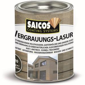 SAICOS COLOUR GmbH SAICOS Vergrauungslasur, graphitgrau, Egalisiert den Übergang zu einer natürlichen Holzvergrauung, 750 ml - Dose 7620301