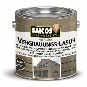 SAICOS COLOUR GmbH SAICOS Vergrauungslasur, graphitgrau, Egalisiert den Übergang zu einer natürlichen Holzvergrauung, 2,5 Liter - Dose 7620501