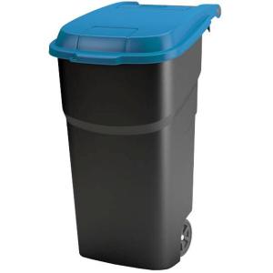 Rotho ATLAS Rollcontainer, 100 Liter, Abfallsammler für den Innen- und Außenbereich, Farbe: schwarz / royalblau