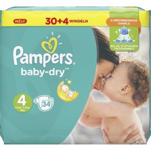 Pampers Baby Dry Maxi 8-16 kg, Größe 4, Der ideale Schutz für die empfindliche Haut Ihres Babys, 1 Sparpack = 34 Windeln