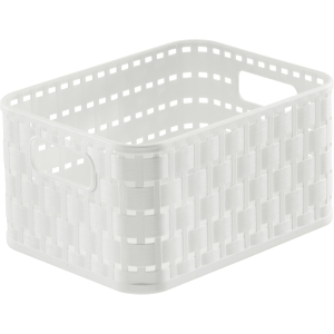 Rotho COUNTRY Aufbewahrungskorb, 2 l, Aufbewahrungsbox aus Kunststoff in moderner Rattan-Optik, Farbe: weiß