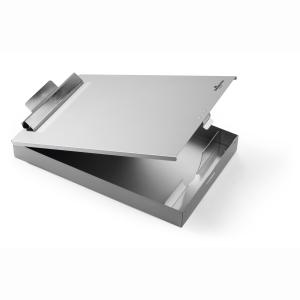 DURABLE Aluminium Klemmbrett A4 Box, Klemmbrett mit Klemmfeder, von unten aufklappbar, ideal für A4 Dokumente, Maße: 350 x 230 x 40 mm, Farbe: metallic silber