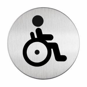 DURABLE Picto - WC Behindert, Die Piktogramme sind aus hochwertigem gebürsteten Edelstahl gefertigt, Durchmesser: 83 cm