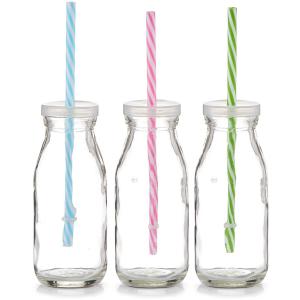 Zeller Present Handels GmbH Zeller Trinkflasche mit Strohhalm, Dekorative Trinkflaschen für Smoothies, Wasser und andere Getränke, 1 Trinkflasche inkl. 1 Strohhalm, farbig sortiert