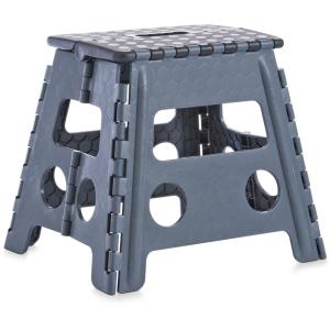 Zeller Klapphocker, Kunststoff, Tritthocker mit rutschhemmender Oberfläche und gummierten Füßen, Maße: 37 x 30 x 32 cm, schwarz/anthrazit