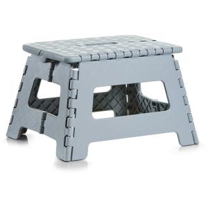 Zeller Klapphocker, Kunststoff, Tritthocker mit rutschhemmender Oberfläche und gummierten Füßen, Maße: 32 x 25 x 22 cm, grau
