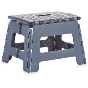 Zeller Klapphocker, Kunststoff, Tritthocker mit rutschhemmender Oberfläche und gummierten Füßen, Maße: 32 x 25 x 22 cm, schwarz/anthrazit