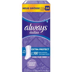 Always Protect Plus Slipeinlagen, Extra lange Slipeinlagen für zusätzlichen Schutz, 1 Packung = 24 Slipeinlagen, Extra Long