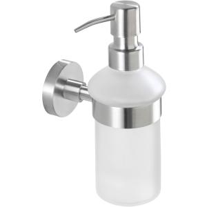 WENKO Bosio Seifenspender, 200 ml, Abnehm- und nachfüllbarer Seifendosierer aus satiniertem Glas, Edelstahl/ Glas