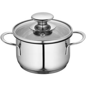 Küchenprofi Mini Kochtopf, Küchentopf inklusive Glasdeckel mit Dampfloch, für energiesparendes Sichtgaren, Volumen: 650 ml