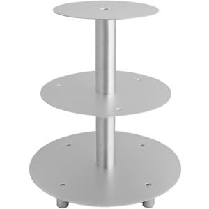 Schneider GmbH SCHNEIDER Etagen-Tortenständer, Aluminium, Geeignet für Hochzeiten, Buffets in der Gastronomie oder für Warenpräsentationen, 3-Etagen, silber 146003