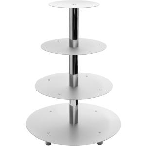 Schneider GmbH SCHNEIDER Etagen-Tortenständer, Aluminium, Geeignet für Hochzeiten, Buffets in der Gastronomie oder für Warenpräsentationen, 4-Etagen, silber 146004