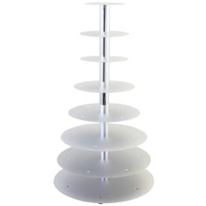 Schneider GmbH SCHNEIDER Etagen-Tortenständer, Aluminium, Geeignet für Hochzeiten, Buffets in der Gastronomie oder für Warenpräsentationen, 8-Etagen, silber 146008