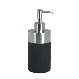 WENKO Creta Seifenspender, 300 ml, Aus hochwertigem Kunststoff kombiniert mit satiniertem, rostfreiem Edelstahl, Black