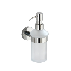 WENKO Bosio Shine Seifenspender, 200 ml, Hochwertiger abnehm- und nachfüllbarer Seifendosierer aus satiniertem Glas, Edelstahl/ Glas