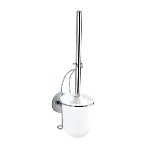 WENKO Milazzo Vacuum-Loc Wand WC-Garnitur, Befestigen ohne Bohren - Einzigartiges Saugsystem, Maße: 10 x 36,5 x 12 cm, Farbe: Silber / Weiß