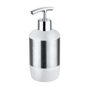 WENKO Loft Seifenspender, Für die portionierte Abgabe von Flüssigseife, Spülmittel oder Lotion, 1 Stück, Material: Edelstahl