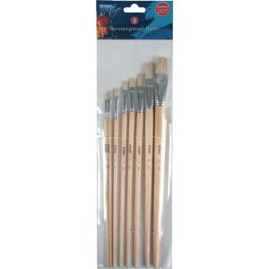STYLEX Schreibwaren GmbH STYLEX® Borstenpinsel, Flache Malpinsel mit Holzgriff ideal für die Schule und Hobby, 1 Packung = 8 Stück 28682