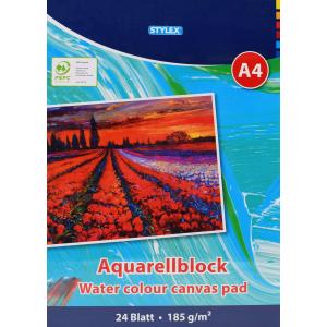 STYLEX Schreibwaren GmbH STYLEX® Aquarellblock, A4, Malblock zum Zeichnen und Malen , 1 Stück, 24 Blatt 28690