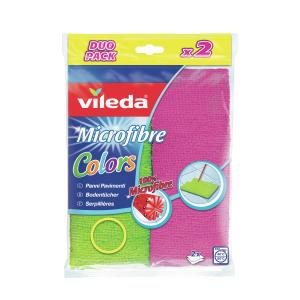 Vileda GmbH Vileda Colors Microfaser Bodentuch, Allround-Tuch aus Microfaser, 1 Packung = 2 Stück 151285