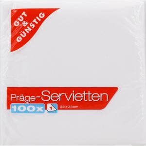 Prägeservietten, 1-lagig, 33 x 33 cm, Weiche Servietten für alle Zwecke, 1 Packung = 100 Stück, weiß 11889